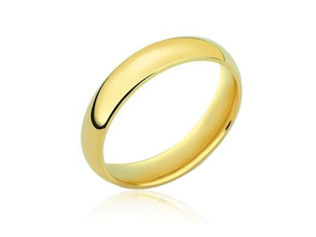 4MM Gold Plated Unisex Comfort Fit Wedding Band Ring