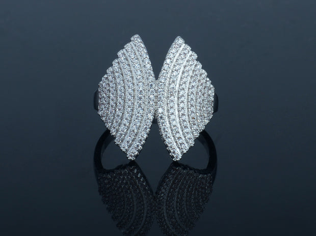18K White Gold Plated Angel Wing Ring