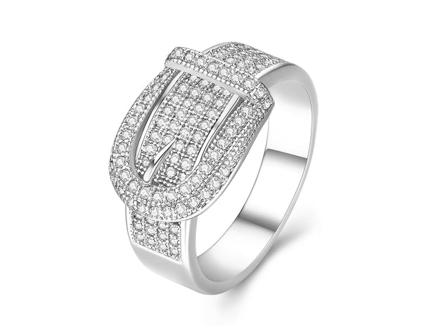 18K White Gold Plated Belt Buckle Ring