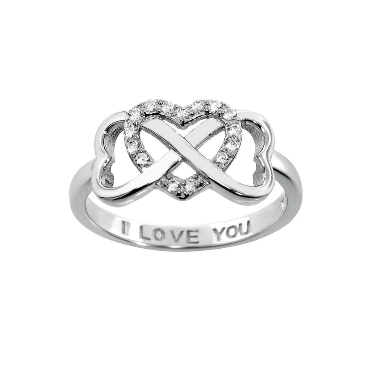 Engraved I Love You Interlocking Heart Rings in Sterling Silver