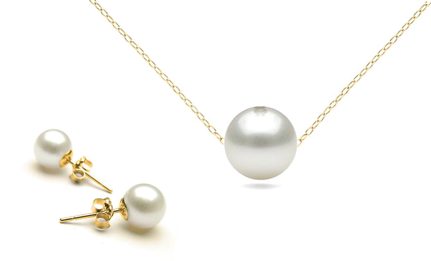 Genuine Pearl Pendant and Earrings