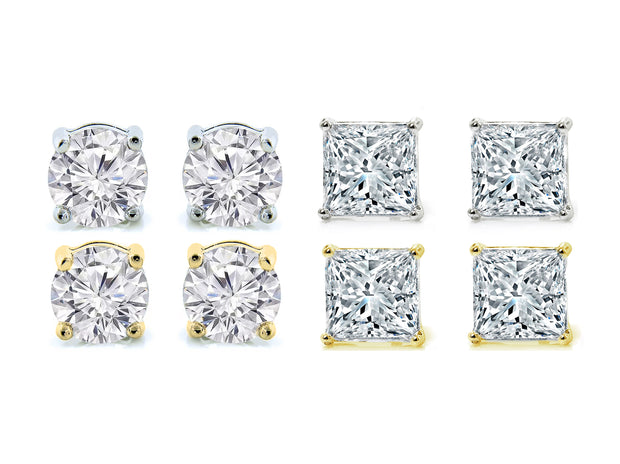 Crystal 4 Pack Stud Earrings Set