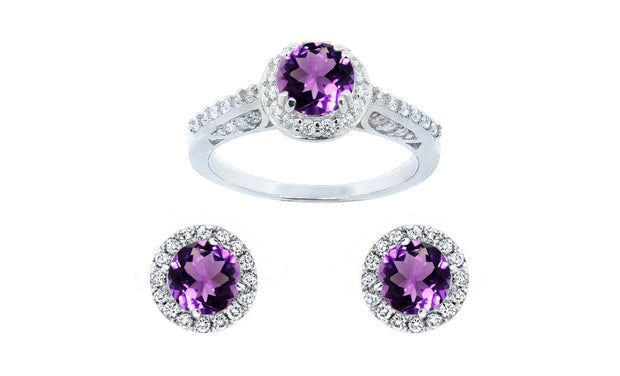 Sterling Silver Colorstone Ring & Earring Set