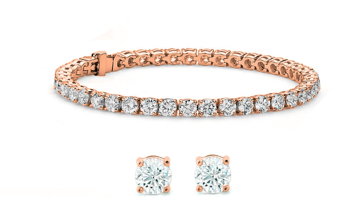 Stud Earrings and Tennis Bracelet Set Made with Crystals