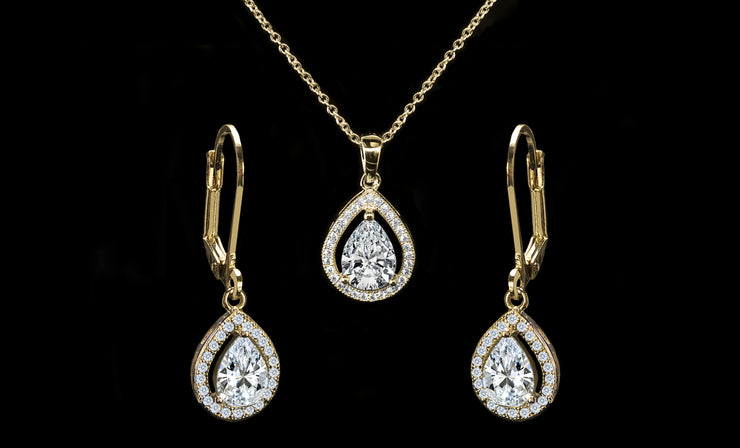 Crystal Pear Halo Pendant and Drop Earrings Set