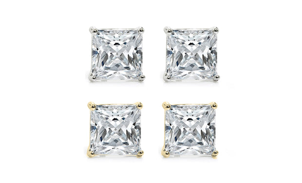 4.50 CTTW Princess Cut Stud Earrings Set With Crystals (2 Pack)