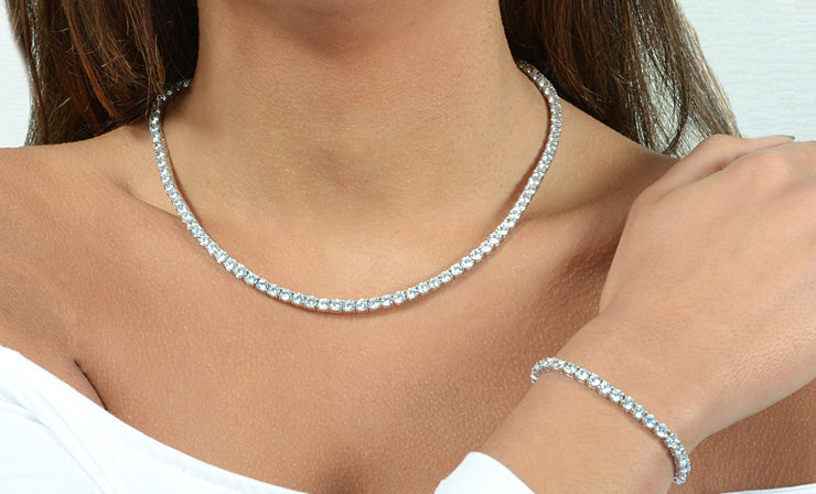 60.00 CTTW Cubic Zirconia Tennis Necklace and Bracelet Set