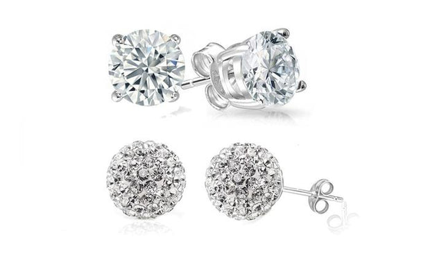 Crystal Ball and Round Stud Earrings Set (2 Pack)