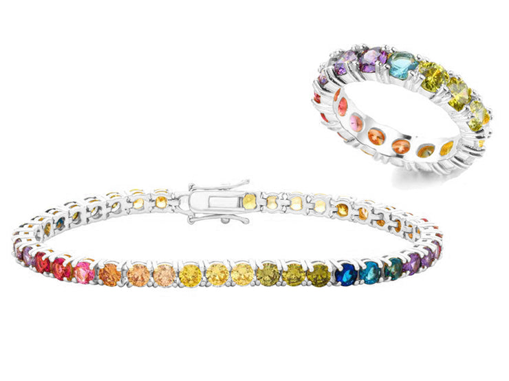 Rainbow Eternity Ring & Tennis Bracelet Set
