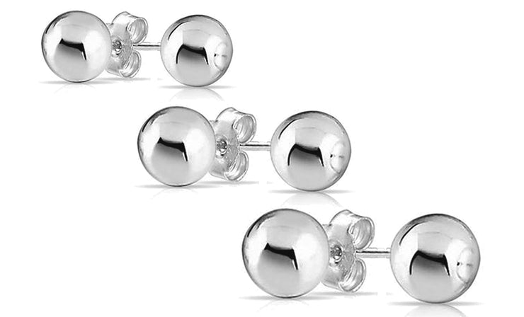 Sterling Silver Ball Stud Earrings Set