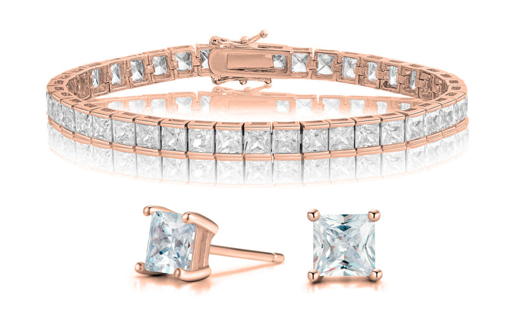 Crystal Princess Tennis Bracelet and Stud Earrings Set