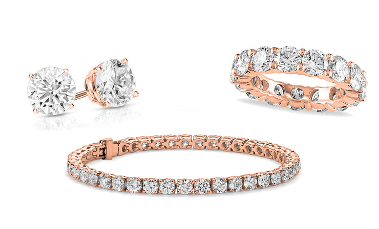 Round Eternity Ring, Tennis Bracelet & Earrings 3 Pack Set