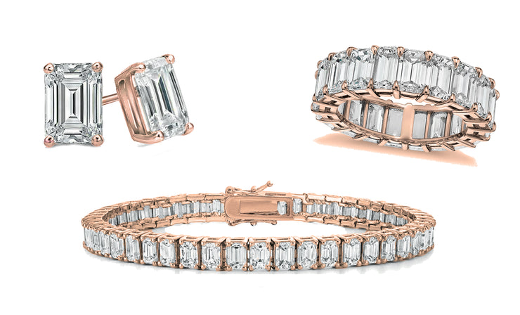 Emerald Cut Eternity Ring, Tennis Bracelet & Earrings 3 Pack Set