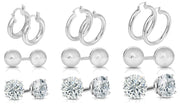 Italian 9 Pair Earrings Set in Sterling Silver