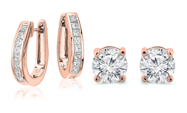 18K White Gold Plated Oval Hoop & Stud Earring Set