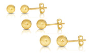 Sterling Silver Set of 3 Ball Studs