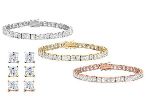 Princess Tennis Bracelet And Stud earring Set