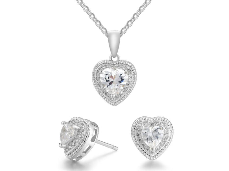 Valentines Day Heart Cable Necklace And Earring Set