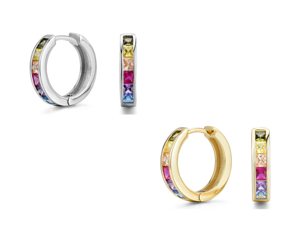18MM Set Of Two Rainbow Hoops