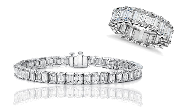 Cubic Zirconia Emerald Eternity Ring and Tennis Bracelet Set