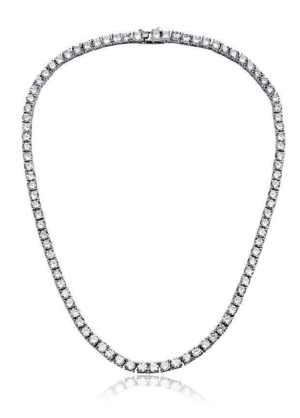 18K White Gold Plated 3MM Tennis Necklace