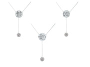 Cubic Zirconia Engraved Inspirational Necklaces