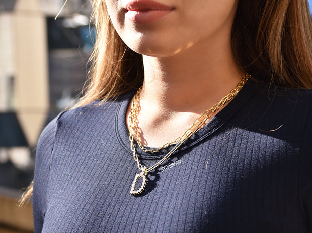 Iced Initial Pendant Paperclip Chain Necklace