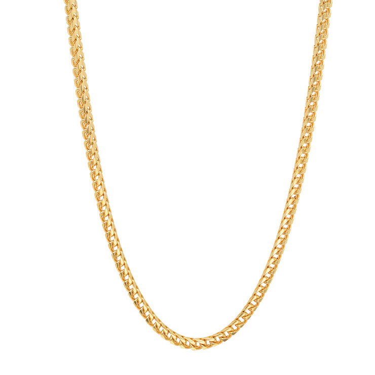 Sterling Silver Gold Plated 3mm Franco Chain Necklace