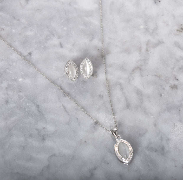 Sterling Silver Cateye Earring & Necklace Set