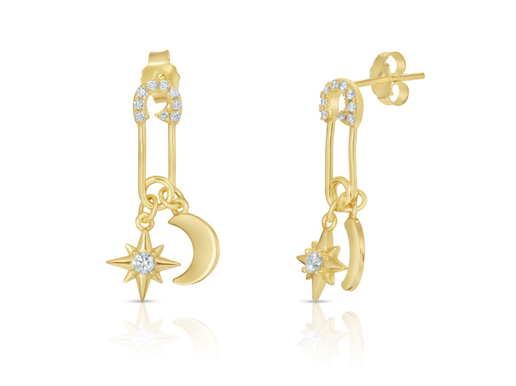 Dangling Star And Moon Safety Pin Earrings