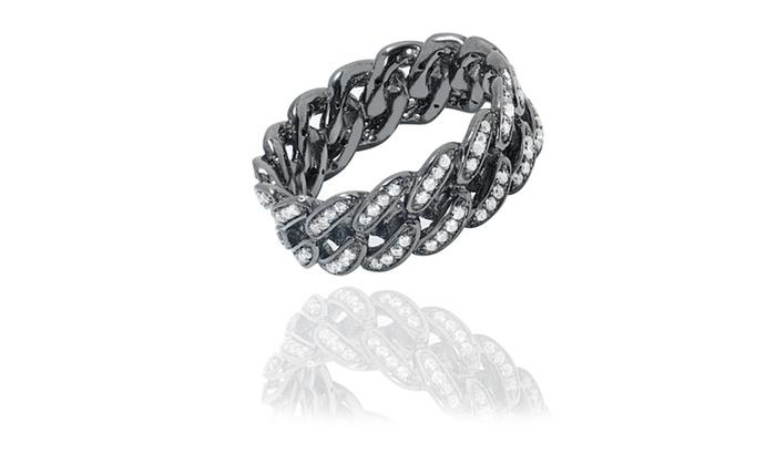 Sterling Silver Cubic Zirconia Curb Link Design Rings