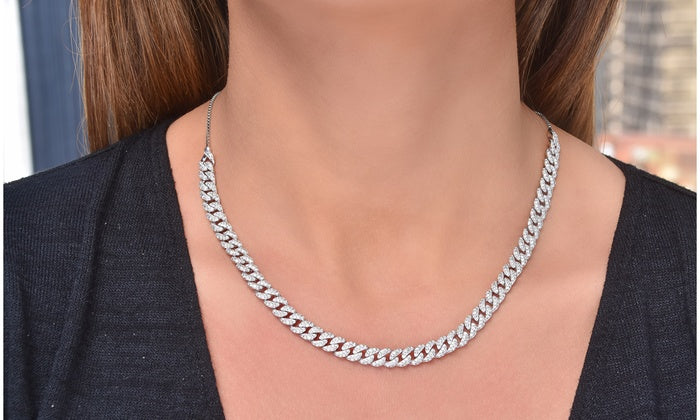 Sterling Silver Curb Adjustable Choker Necklace