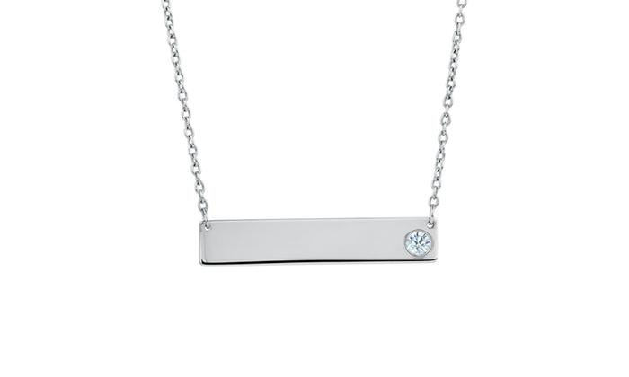 Cubic Zirconia Bar Necklace in Sterling Silver