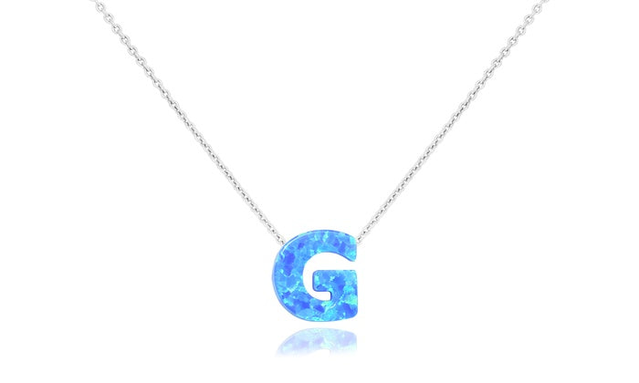 Genuine Opal Initial Pendant Necklaces