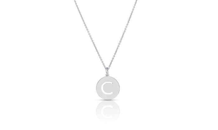 Initial Cut Out Disc Necklace