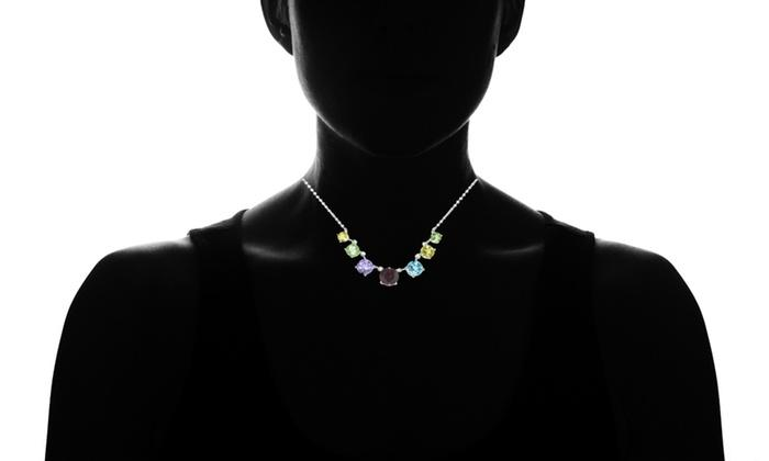 Genuine Gemstone Graduated Multi Color Necklace in Sterling Silver