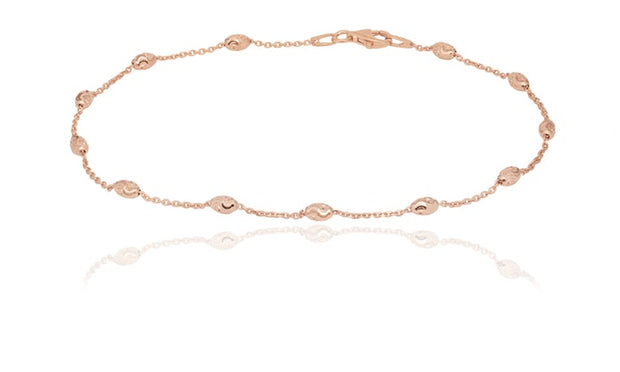 Solid Italian Oval Moon Cut Bead Anklet