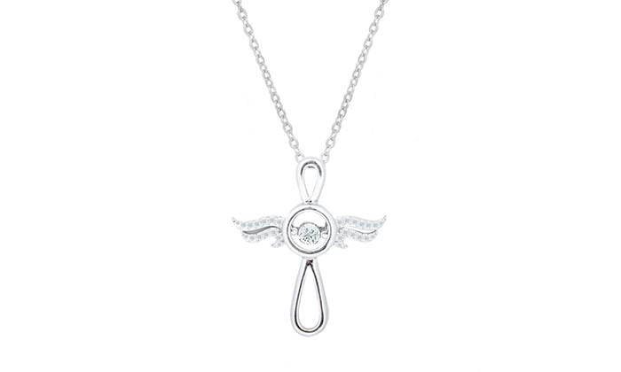 Sterling Silver Angel Cross Cubic Zirconia Necklace