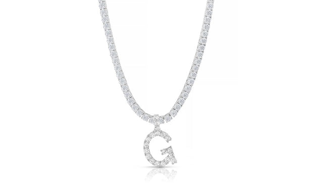 Iced Out Prong Initial Tennis Necklaces