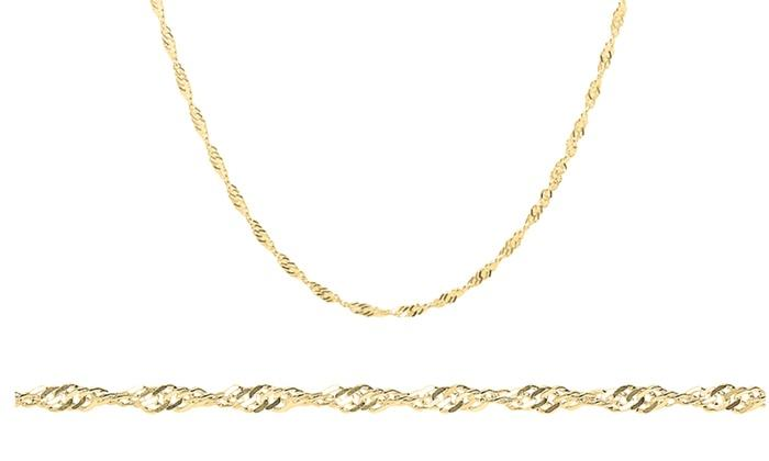 2MM Sterling Silver Gold Plated Singapore Necklace