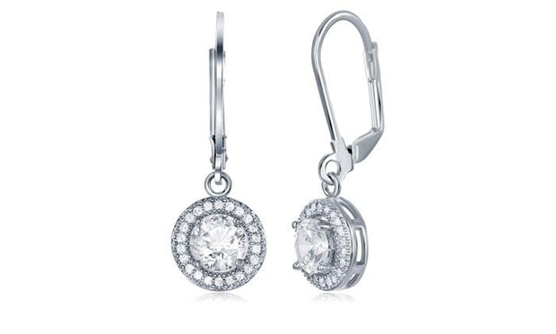 Crystal Round Halo Drop Earrings