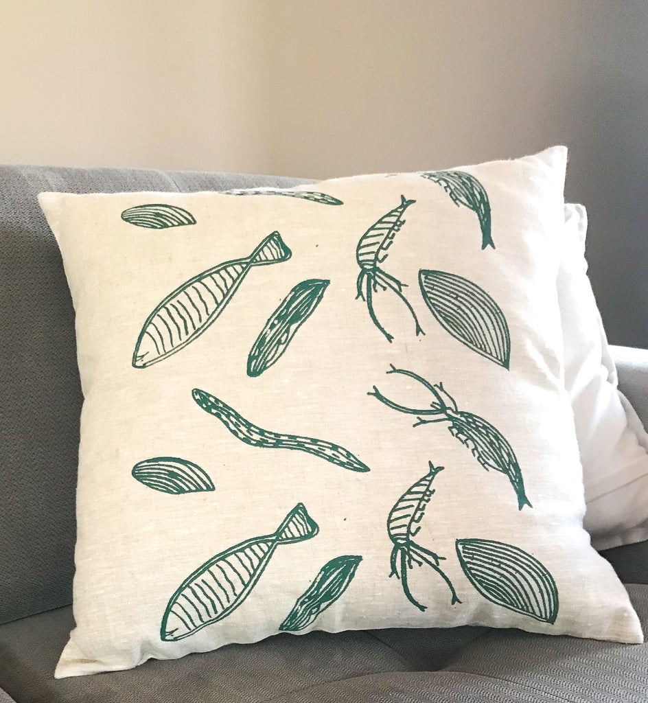 Linen Cushion-Deb Yadda: River Creatures