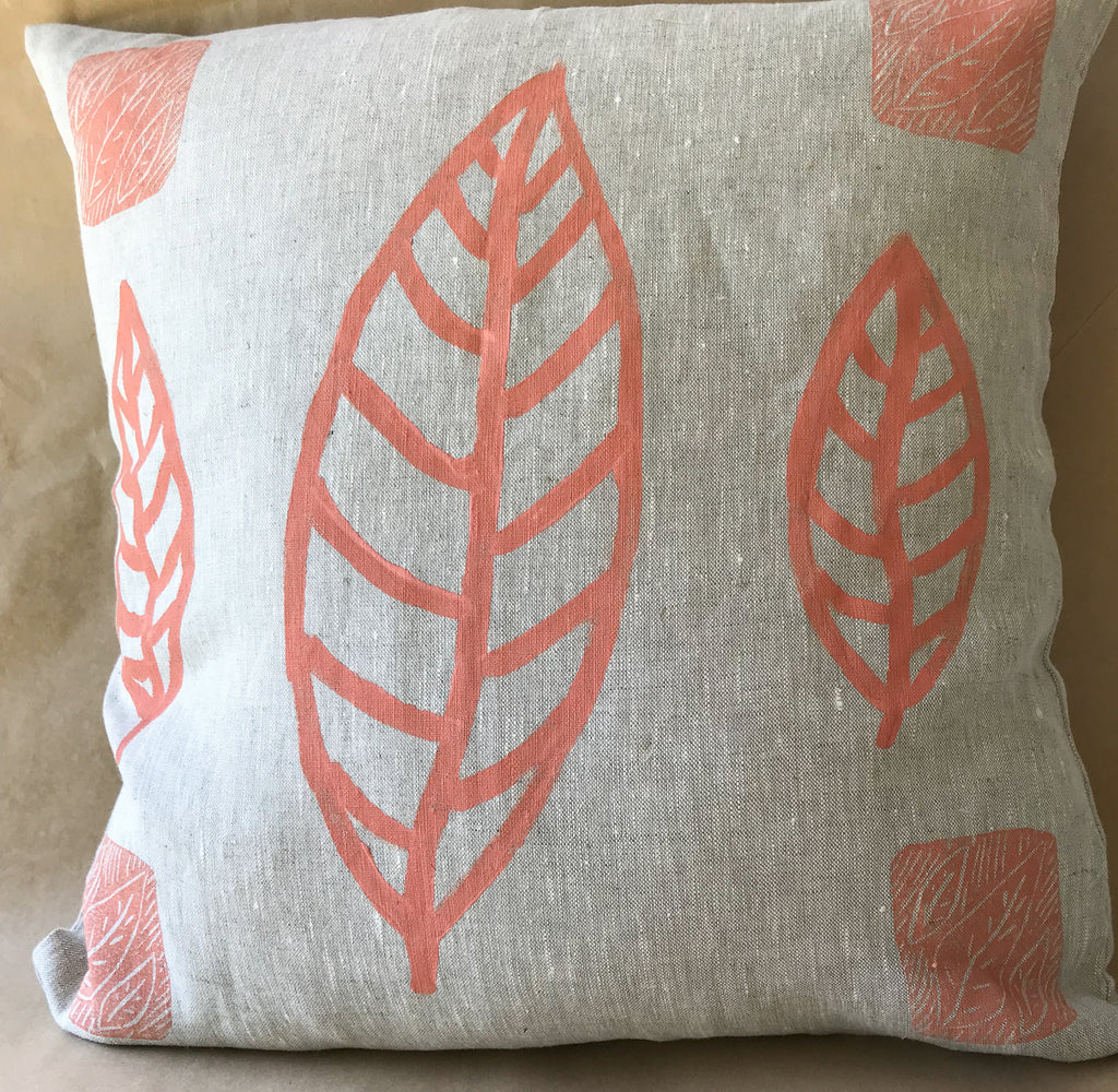 Linen Cushion- Lilly Spinks: Leaf Print