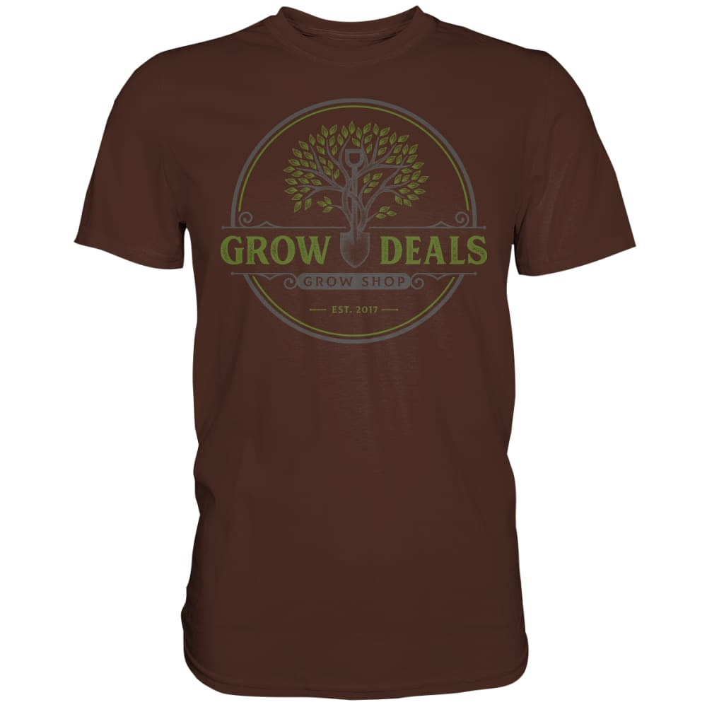 Grow-Deals (großes Logo) - Premium Shirt Brown / S Unisex-Shirts