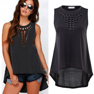Cotton Sleeveless Retro Black Hollow Out Tank Tops