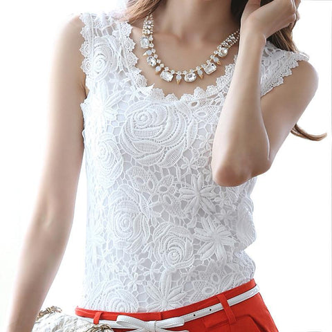 Cotton Sleeveless Renda Crochet Blouses