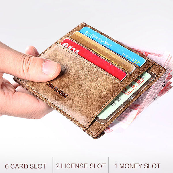 Men's Genuine Leather Mini Slim Vintage Card Holder