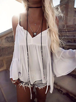 Cotton Sleeveless Chiffon Off Shoulder Tops Blouses