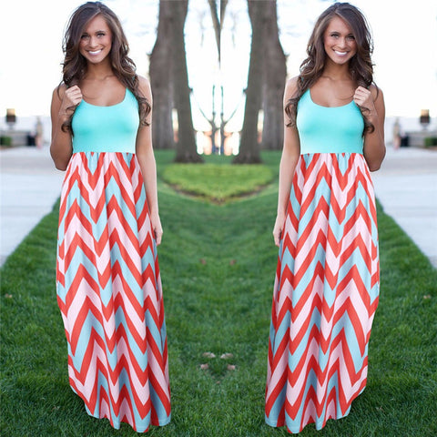 Striped Long Dresses Feminine Plus Size