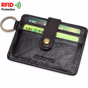 RFID Theft Protect Wallets Cowhide Genuine Leather